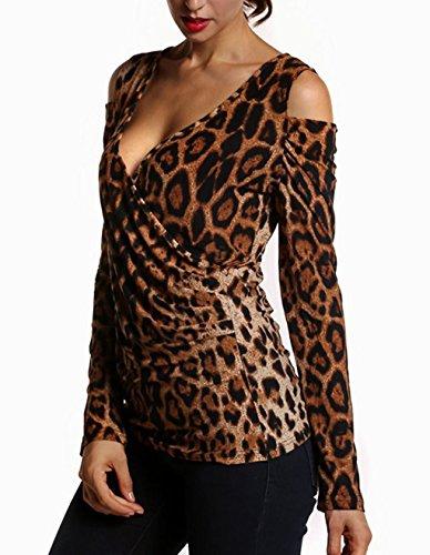 Bluse Maglie V Maglietta Sexy Spalla Shirts Leopardato A Tops Donne Nuda Marrone Blouse Camicie Lunga Scollo Manica OYxqwS7