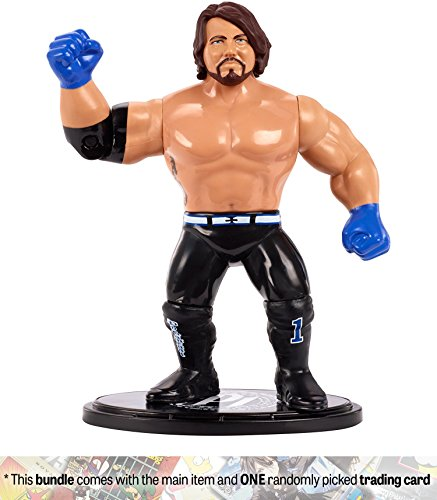AJ Styles: WWE Retro App Action Figure + 1 Official WWE Trading Card Bundle (FML23)