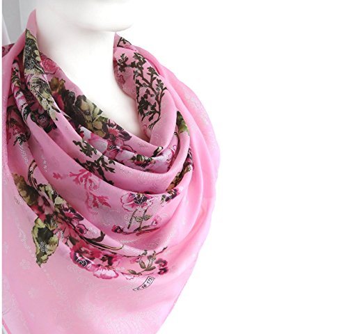 Sparkly Elegant Spring Summer Scarf Pink Silvery Floral Print Soft Cotton Large Square 38 x 38 inches