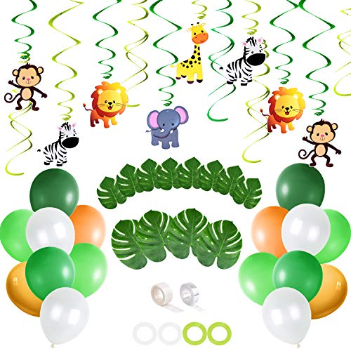 TUPARKA Jungle Theme Party Supplies ,Safari Party Supplies with 40 Pcs Balloons 12 Pcs Palm ,Jungle Animals Hanging Swirls Palm Leaves for Forest Jungle Theme Baby Shower Birthday Party]()