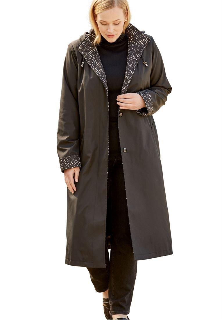 Jessica London Plus Size Long Hooded Raincoat (Black New Khaki Dot Print,14)