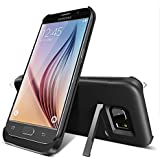 S6 Battery Case, SQdeal 4200mAh Rechargeable External Backup Battery Case Portable Charging Case with Kickstand For Samsung Galaxy S 6 G920 All Version (Black)
