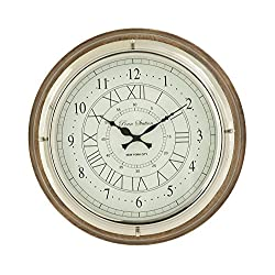 Deco 79 Round Wood Steel Wall Clock