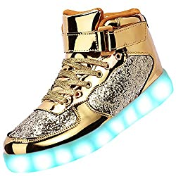 Bright Gold High Top Light Up Sneakers