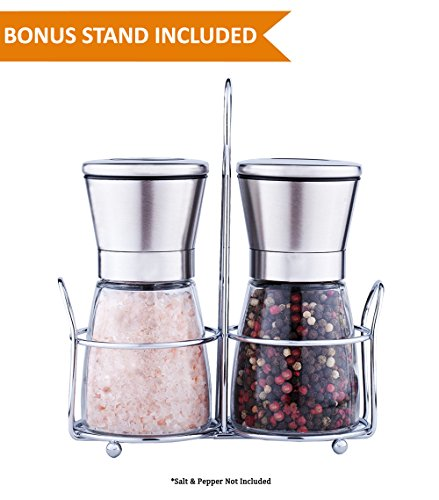 Premium Salt & Pepper Grinder Set of 2 - Salt and Pepper Shakers Mill & Caddy