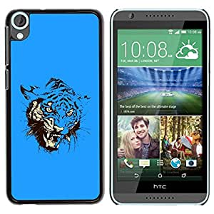 Paccase / Hard Protective Case Cover for - Blue Fierce Tiger Attack - HTC Desire 820