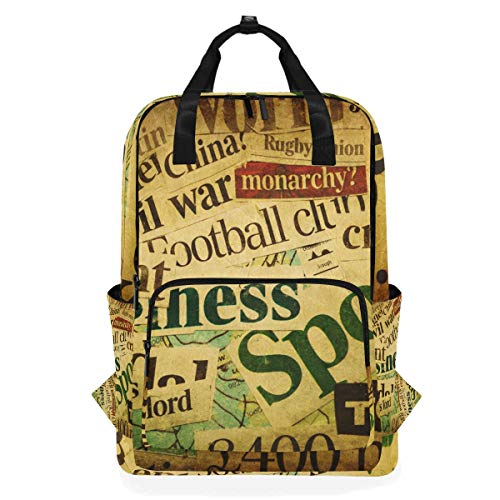 (FANTAZIO Collage of Words from Newspapers Grunge Pattern Backpack Casual Daypack)