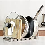 : Ajustable SUS304 Stainless Steel Pan Rack Pot Lid Holder Cookware Organizer With Removable Draining Tray,Kitchen Cabinet Countertop Storage Solution-Large Capacity