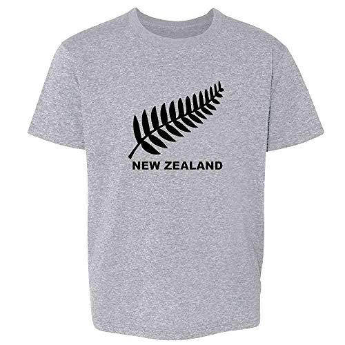 New Zealand Retro Soccer Rugby Kiwi Fern Crest Sport Grey L Youth Kids T-Shirt