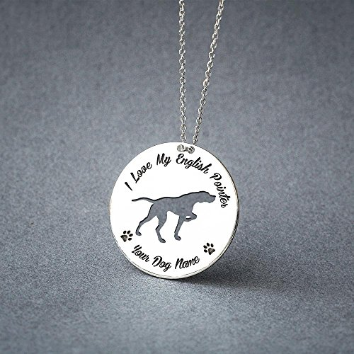(Personalised English Pointer Disc Necklace - English Pointer Disc name Jewelry - Dog Jewelry - Dog breed Necklace - Dog Necklaces)