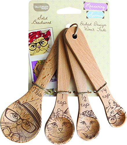 Measuring Spoons, Solid Beechwood, Laser Etched Cat Collection, 4 Piece Set