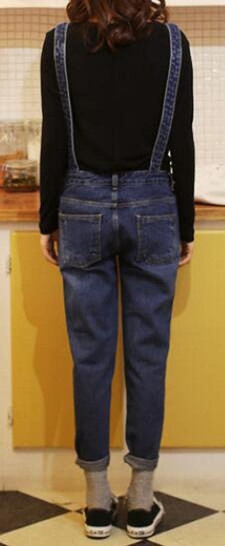BOBOYU-Women Classic Girls Bib Slim Fit Destroyed Denim Overalls Romper Jumpsuits