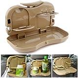 CarBazaar Foldable Travel Dining Tray Or Cup Holder Beige for Maruti Suzuki Ertiga