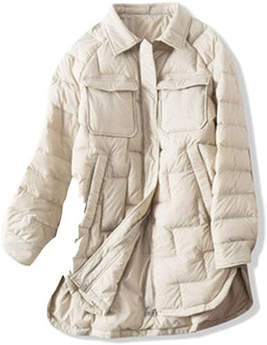 x8jdieu3 Otoño e Invierno Chaqueta de plumón para Mujer Chaqueta térmica Ligera Pato Blanco Pliegues de Camisa Camisa Delgada Chaqueta de plumón Mujer: Amazon.es: Ropa y accesorios