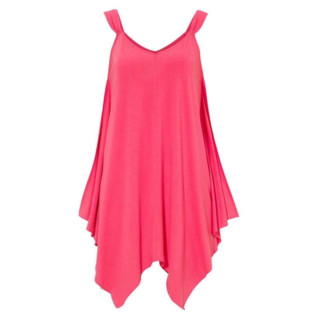 Vincent&July Women Summer Tank Tops Blouse Casual T-Shirt Sleeveless Irregular (X-Large, Hot Pink)