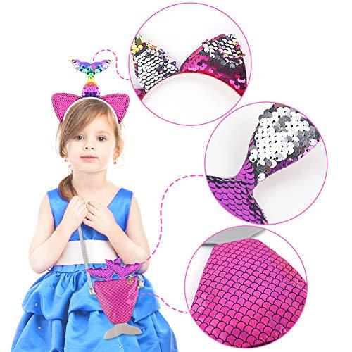 Mermaid Sequin Set, Mermaid Crossbody Bag Sequin Mermaid Accessory Headband and Cute Mermaid Hair Clips for Girls Kids Cosplay Party Favors