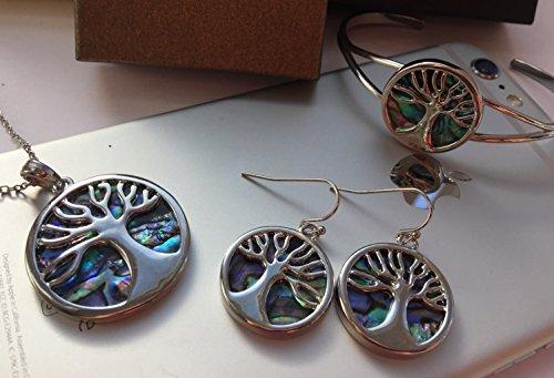 Coquille de Paua Abalone Bracelet jonc Arbre de Vie Argent Incrusté W/bleu et vert nuances de coquille de Paua Boîte Cadeau de Luxe pour femme fille bijoux naturelle par bellamira
