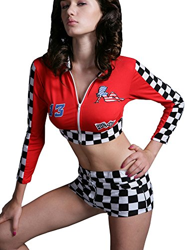 Red Racer Girl Costume (Sexy Women's Long Sleeved Racer Dress Top Costume and matching Shorts)