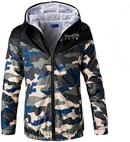 Herren Camouflage Gedruckt Langarm Reißverschluss Sweatshirt Freizeit Sport Outdoor Zip Hoodie Funktionsjacke Freizeitjacke Coat Top