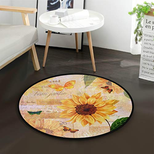 ALAZA Watercolor Sunflower Butterfly Round Area Rug for Living Room Bedroom 3' Diameter(92 cm)