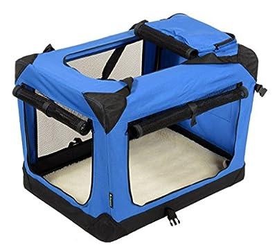 """Jespet Deluxe Blue & Beige Indoor/Outdoor Soft Dog Crate, 3 Doors with Fleece Mat & Storage Pockets. Available as 30"""", 36"""" & 42"""""""