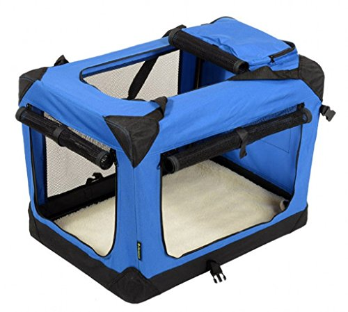 Jespet-Deluxe-Blue-Beige-IndoorOutdoor-Soft-Dog-Crate-3-Doors-with-Fleece-Mat-Storage-Pockets-Available-as-30-36-42
