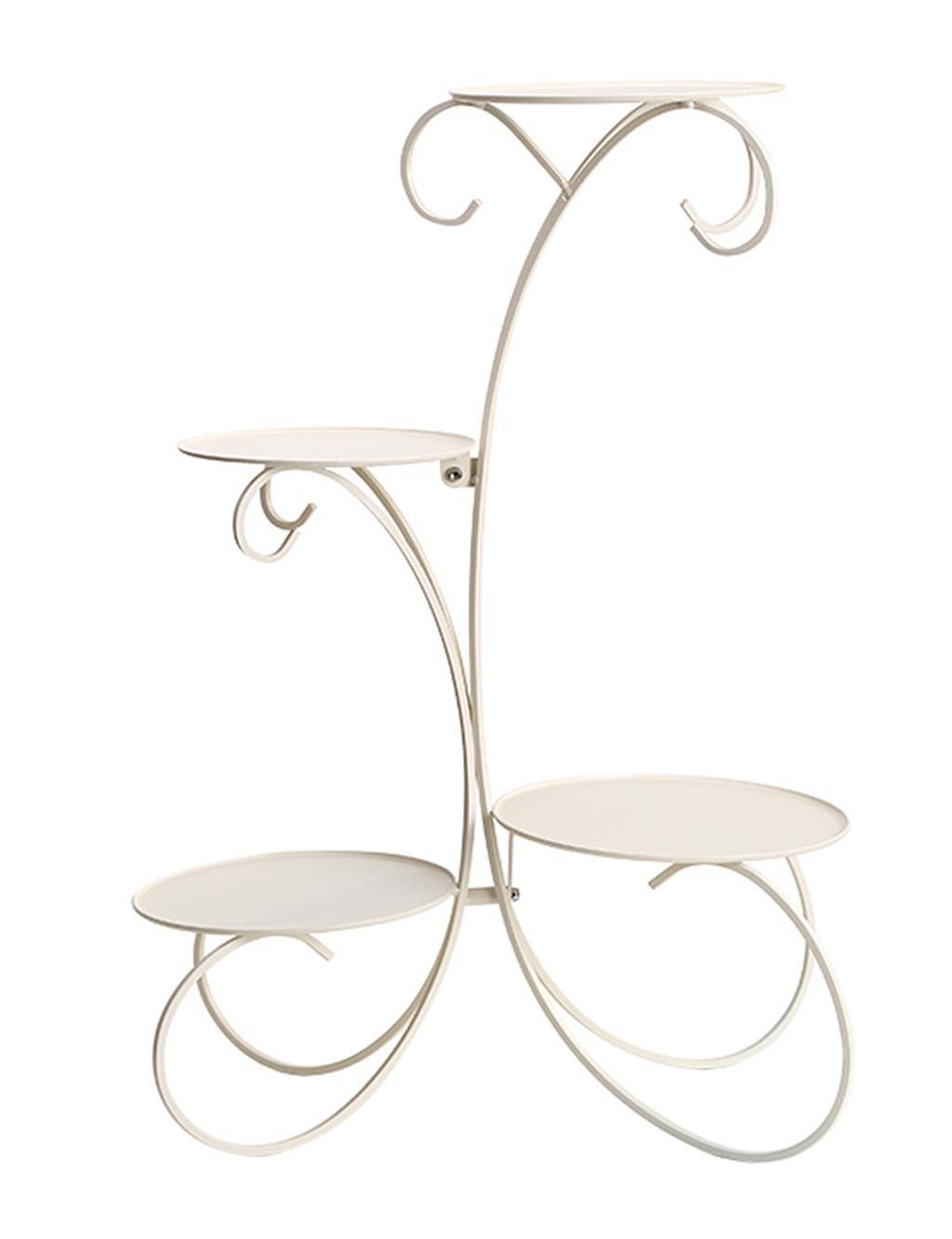 Europäische - Stil Ländlichen Four -tier Eisen Boden Flower Pot Regal Für Indoor, Balkon ( farbe : Weiß )