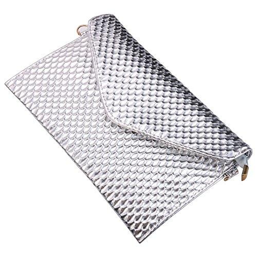 Women Large Sasairy Zipper Handbag Evening Purse Silver Clutch Envelope Wallet Bag Leather gIdTqFd