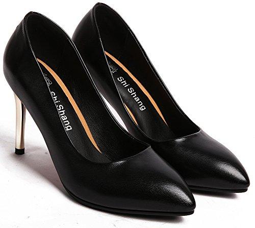 Idifu Mujeres Classic Pointed Toe Slip En La Parte Superior Baja Bombas De Vestir Zapatos Con High Stiletto Heels Black