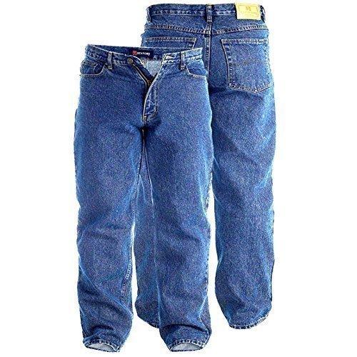 Rockford Pour Homme Duc Chemise Bleu Jean Délavé 86,4cm longue à l'intérieur jambe Denim Jeans Coupe Confort Big King taille adulte pour femme
