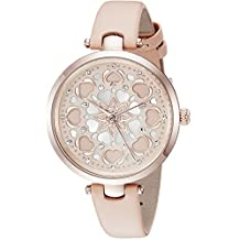 kate spade new york Women's 'Holland' Quartz Stainless Steel and Leather Casual Watch, Color:Beige (Model: KSW1407)