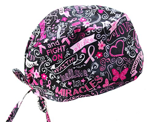 Pink Ribbon Breast Cancer Awareness Support Survivor Scrub Cap Head wrap