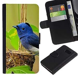 WINCASE ( No Para S6 EDGE ) Cuadro Funda Voltear Cuero Ranura Tarjetas TPU Carcasas Protectora Cover Case Para Samsung Galaxy S6 SM-G920 - pájaro azul naturaleza primavera nido verde