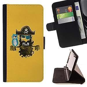 BullDog Case - FOR/LG OPTIMUS L90 / - / Pirate & Owl Sea Comrades /- Monedero de cuero de la PU Llevar cubierta de la caja con el ID Credit Card Slots Flip funda de cuer