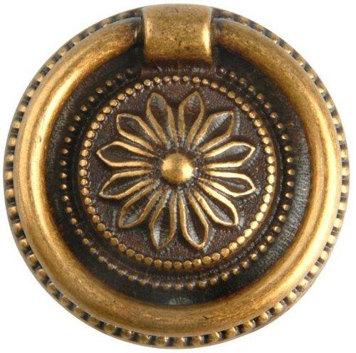Antique Brass Drop Pull (Bosetti Marella 100190.09 Louis XVI Brass Drop Pull, 1.85-Inch Diameter, Antique Brass Dark)