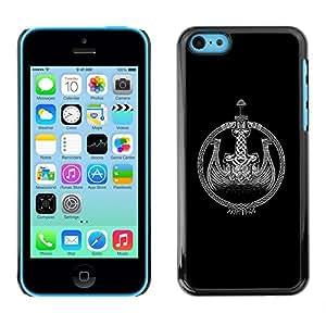 FlareStar Colour Printing Black Viking Ship Wreath Black White cáscara Funda Case Caso de plástico para Apple iPhone 5C
