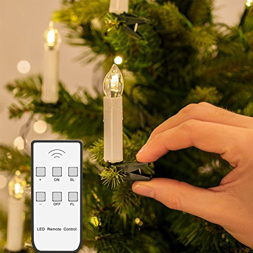 Candle Clip (Set of 10 Led Candle Light Flameless Flickering LED Candles Lights with Clips and Wireless Remote Control for Wedding Christmas New Year Home Tree Decoration, Warm White)