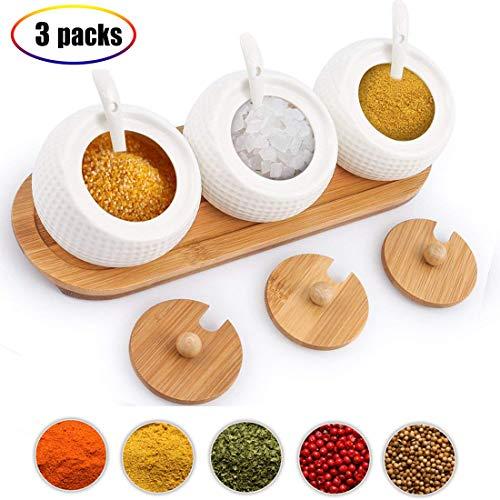 Condiment Pots, golf Shape Set of 3 Ceramic Spice jar with Lids, Best Pottery Cruet Pot for Your Home, Kitchen, Counter. -