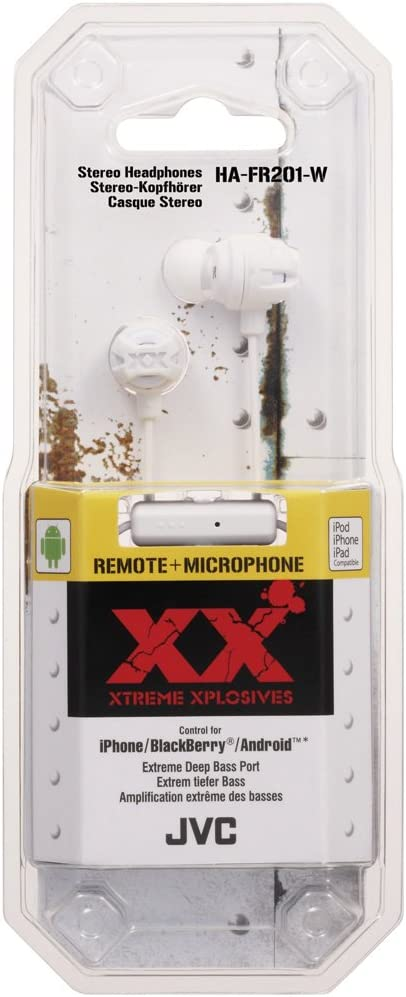 JVC Xtreme Xplosives Headphones with Remote and Mic - Green White
