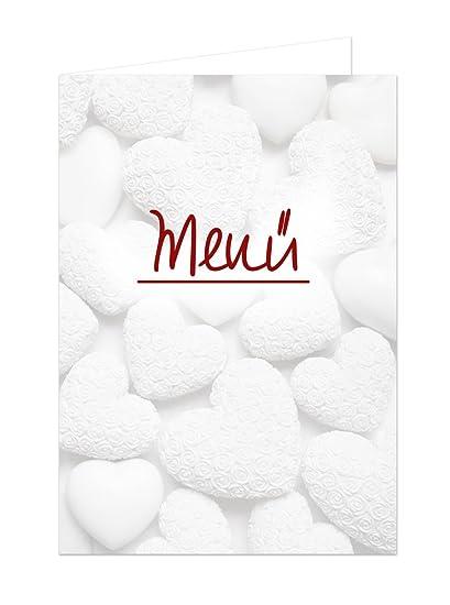 20 unidades blancas Corazones Rojo Texto vacías en blanco menú ...