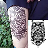 Owl Temporary Tattoos for Women & Men Realistic Anti Perspiration Tattoos Stickers Removable Waterproof Body Art Arm 3D Fake Tattoos Men Women Party Favors (Black)