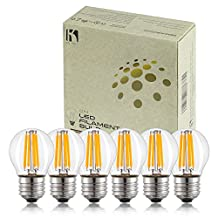 Keymit G14 4W UL-E492997 LED Globe Bulb - Dimmable with 90% Types of Dimmers - E26 Medium Base Filament Clear Edison Light Bulbs - 25W-40W Equivalent - Replace G40 String Bulbs 6Pack