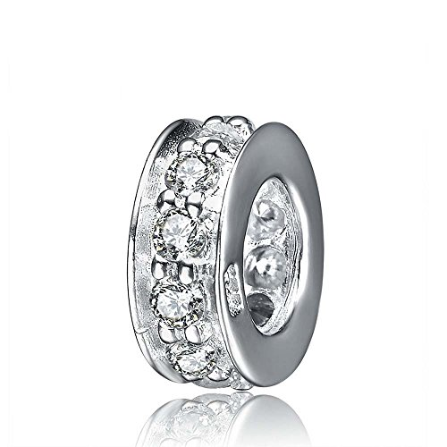 - 925 Sterling Silver Spacer Charm Bead with Clear CZ for Charms Bracelets