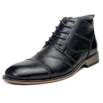 SHANLY Hombre Martin Boots, Botines con Cordones De Cuero Genuino Vestido Formal Zapatos De Negocios