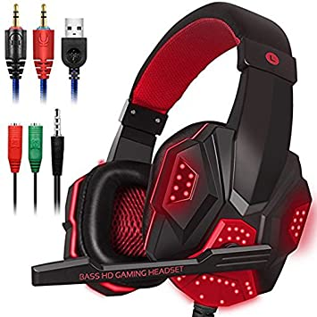 YOUQING Gaming Headset per Cuffie PS4, PC, Xbox One Turtle Beach, Stealth Hornet Gaming multiformato Gaming Headset Isolamento del Rumore con LED Surround Cuffie Surround da 3,5 mm con Cavo