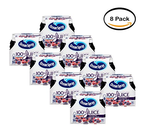 - PACK OF 8 - Ocean Spray 100% Juice, Cranberry Concord Grape, 10 Fl Oz, 6 Count