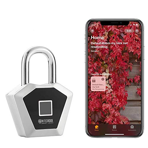 Fingerprint Padlock,Works with HomeKit,Bluetooth Lock Metal Waterproof - Suitable Gym Locker/House Door/Backpack/ Suitcase/Bike/ Office, Applicable to All Apple Products by WGCC