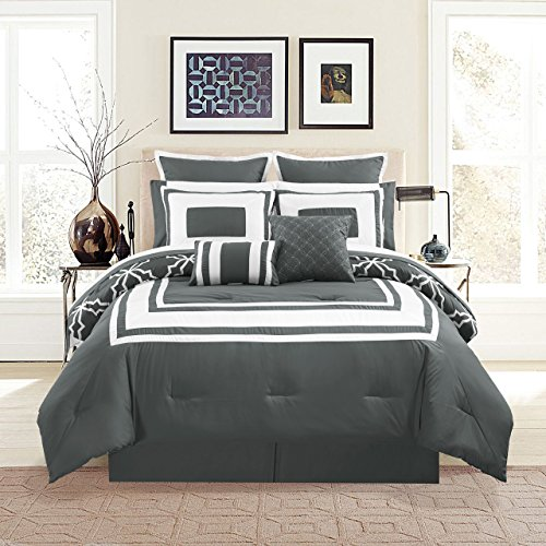 KingLinen 12 Piece Bernard Gray Comforter Set with Sheets Queen
