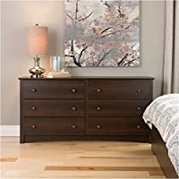 Pemberly Row Espresso 6 Drawer Dresser