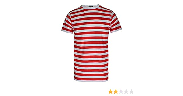0f85c7866a Amazon.com: RIDDLED WITH STYLE Mens Red and White Stripe T Shirt Short  Sleeve Tees: Clothing